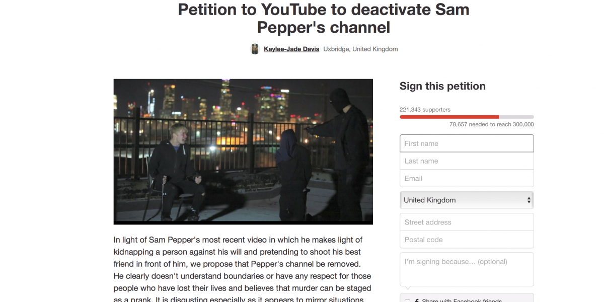 Pranks, Petitions and Sam Pepper.